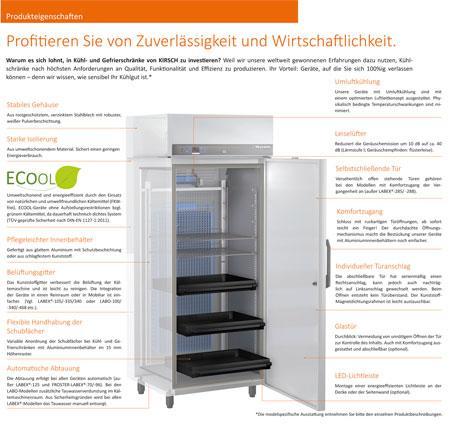 Produkteigenschaften KIRSCH-Labor-Kühl und Gefrierschränke