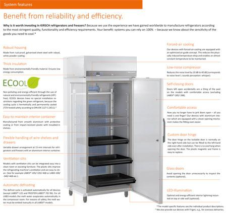 KIRSCH-Laboratory Refrigerators system features preview