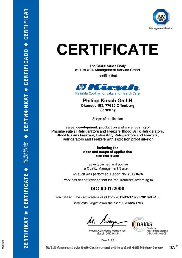 certificates kirsch pharmaceutical refrigerators blood bank